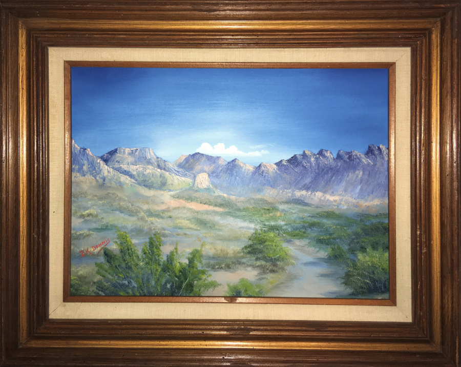 """Juniper Canyon"" 12""x16"" Oil on Canvas Inspired by photo taken in Big Bend National Park by author Ben H. English of Alpine, TX."