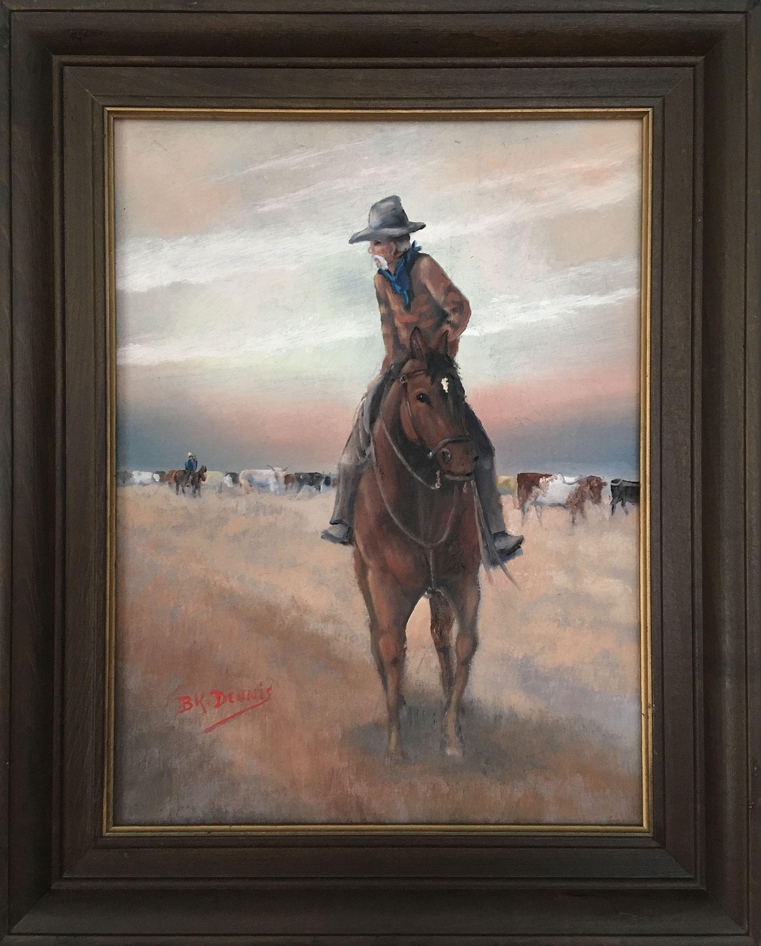 Oil painting by BK Dennis of man on horseback looking back toward cattle herd.