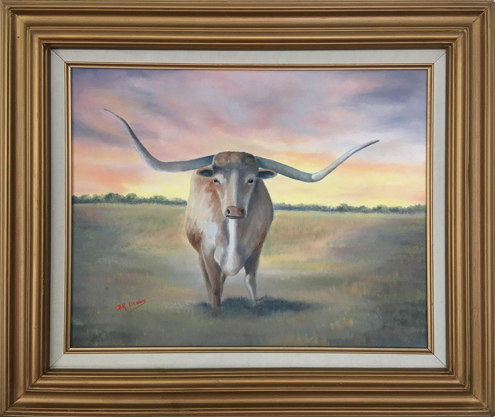 Painting of Longhorn Steer staring straight ahead